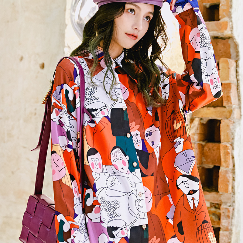 LANMREM Can Ship All-match Women Printing Long Sleeve Shirt  Red Loose Shirt Woman's Clothes Vintage Casual Tops 2020 New YJ041