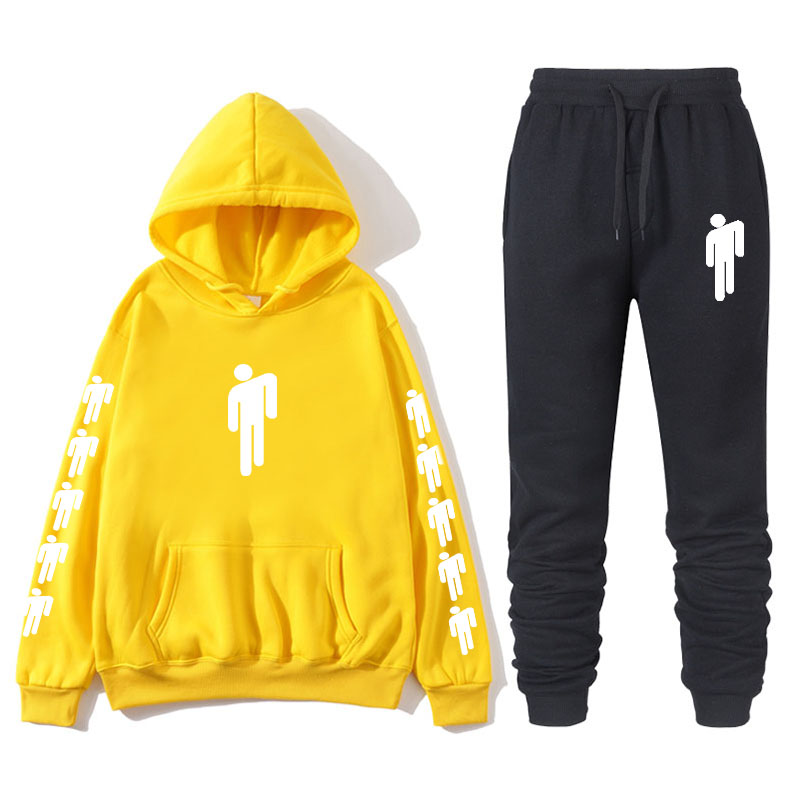 Billie Eilish Piece Tracksuit Women Men Off White Hoodie Sweatshirt Female Sport Pullover Suits Men's Sport Suit Set Tracksuit