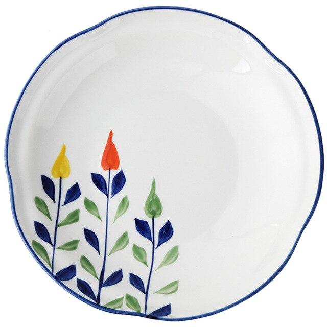 Купить тарелка керамическая с глазурью ручная роспись в японском стиле картинки цена