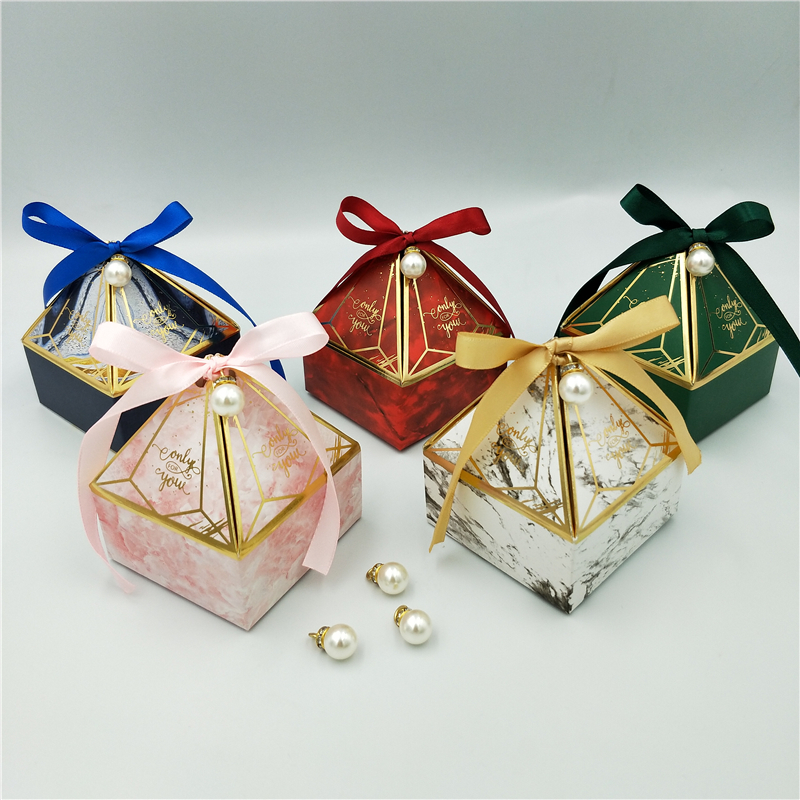 Gift Box Wedding Supplies Party Candy Box Baby Shower Paper Chocolate Boxes New Prismatic Creative Bronzing Packaging Boxes-1