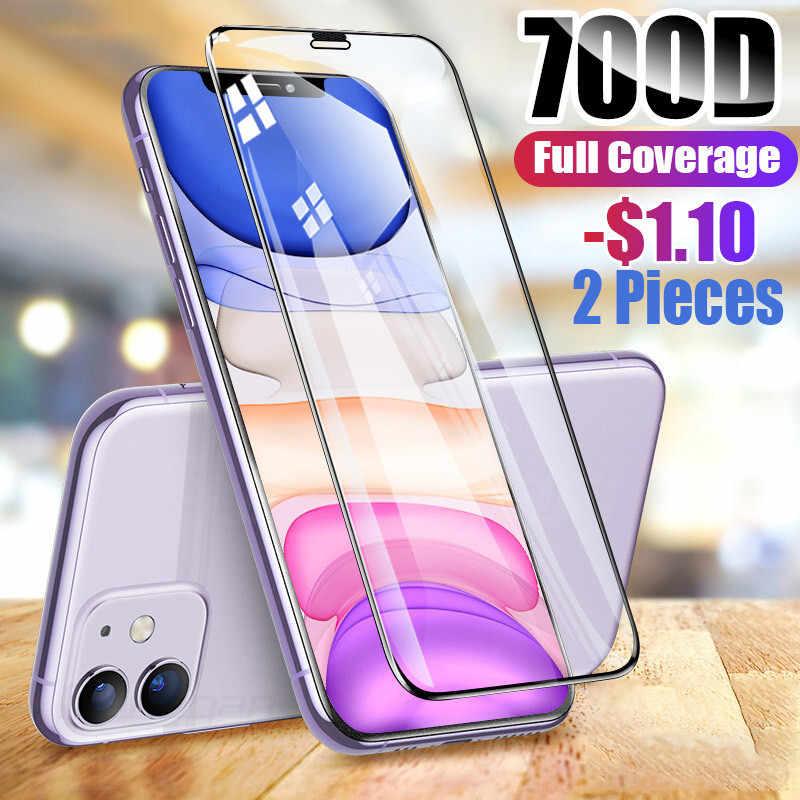 700D Penuh Penutup Pelindung Kaca Tempered Di UNTUK iPhone 7 8 6 6S Plus Pelindung Layar untuk iPhone 11 pro X XR X MAX Kaca Film