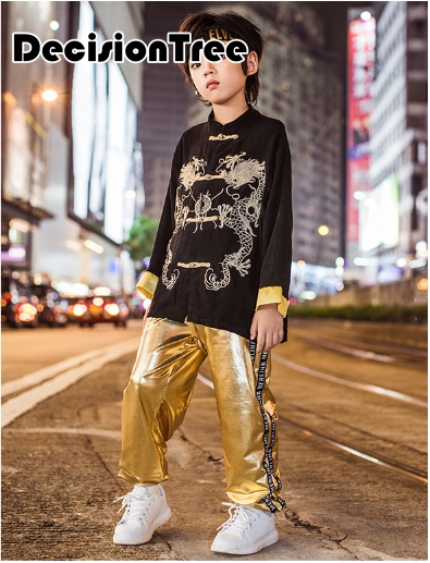 2019 Wushu Kids Chinese Traditional Kung Fu Suit Boys Stage Performance Costume Set Tai Chi Kungfu Uniform Embroidery Dragon