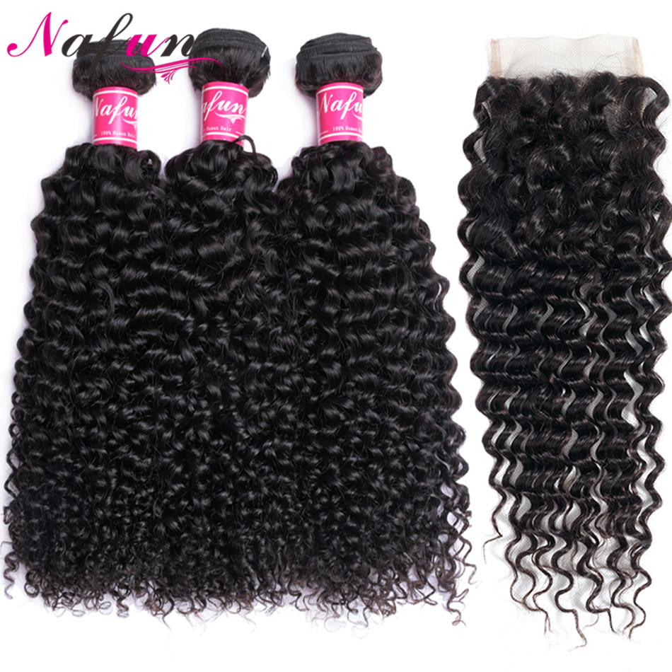 Hair-Bundles Closure Curly Kinky Natural-Color 30inch Peruvian with Remy