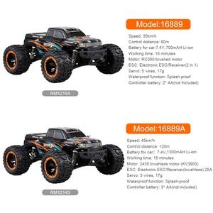 Image 2 - Linxtech 16889 1/16 RC Auto 45km/h Motore Brushless 4WD RC Auto Da Corsa Big Foot Off Road Auto Giocattolo di RC per I Bambini di Età VS Wltoys 12428