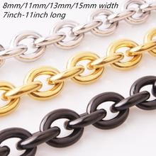 7-40 8/11/13/15mm Fashion Silver Gold Black Womens Mens Stainless Steel Rolo Oval Link Chains Necklaces Jewellery