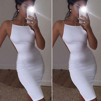 Plus Size Bandage Sleeveless Bodycon Elegant Dress Women Summer Backless Sexy Mini Dresses Womens image
