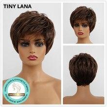 Крошечные LANA короткие прямые человеческие волосы парики Смешанные синтетические парики смесь волос с челкой для черных женщин афро темно-коричневый боковая часть