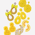 2019 богемные серьги-капли ручной работы с желтыми бусинами для женщин модные большие эффектные серьги ювелирные изделия для свадебвечерние