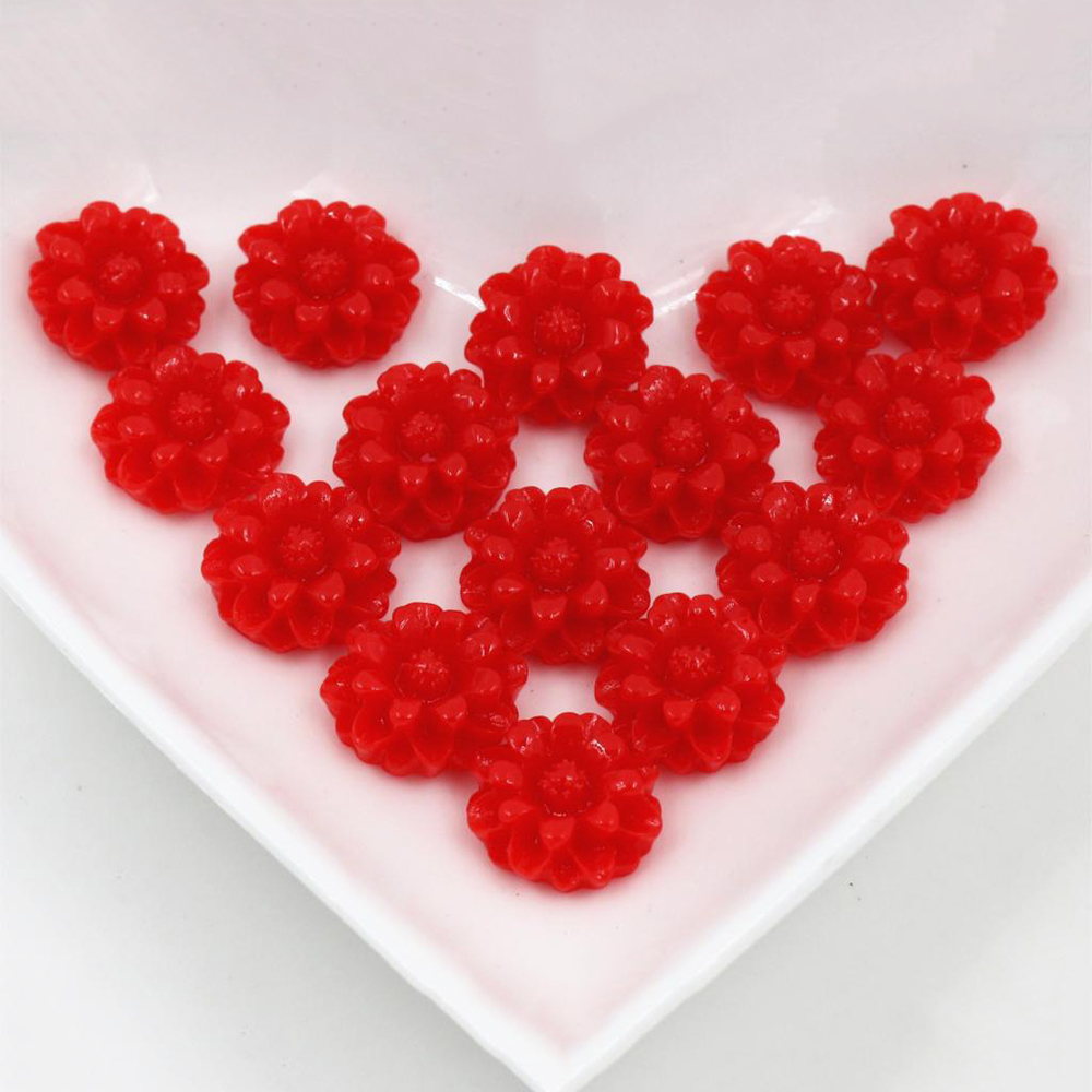 New Fashion 40pcs 12mm Red Color Flat Back Resin Flower Cabochons Cameo G6-03