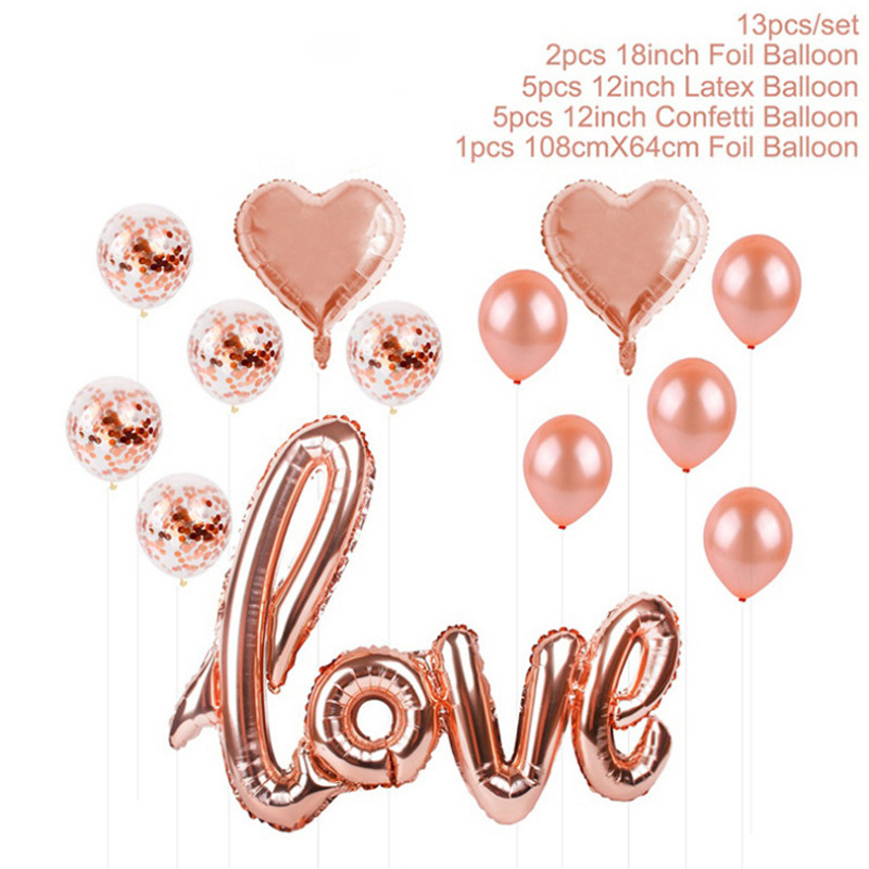 Party Decoration Articles Aluminum Foil Balloon Set Meal Rose Gold Love Paillette Balloon Send Straw Silk Ribbon