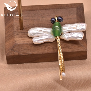 Xlentag Dragonfly Shape Pure Natural Pearl Green Jade Hair Accessories Hairpin Personalized Unique Gifts Jewelry GH0023