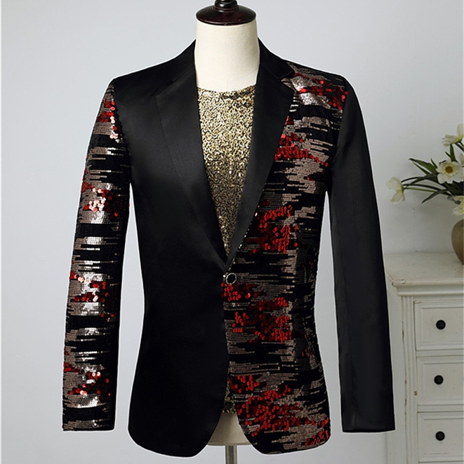 Autumn&Winter Jacket Men's Slim Fit Blazer Irregular Sequins Coat Groom Suit Party Nightclub Prom Outfit Singer Costume