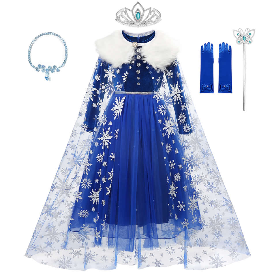 Disney Frozen Elsa Winter Dress For Girls Snow Queen Princess Costumes With Faux Collar Tulle Cloak Dark Blue Pearl Velvet Gowns    - AliExpress