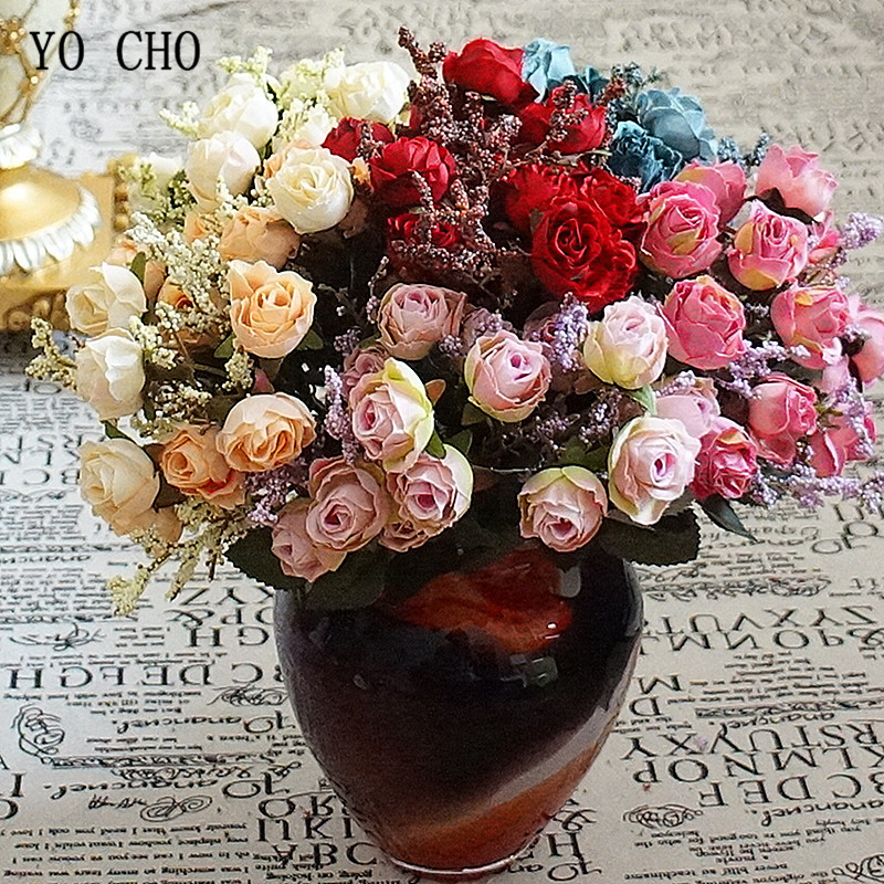 Lovegrace Mini Bouquet Artificial Flower 15 Heads Silk Rose Fake Flower Champagne Small Bouquet Home Party Wedding Table Decor