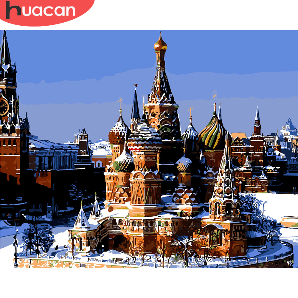 HUACAN DIY Oil Painting By Numbers Moscow Square Landscape Kits Canvas HandPainted Gift Pictures City Scenery Home Decor