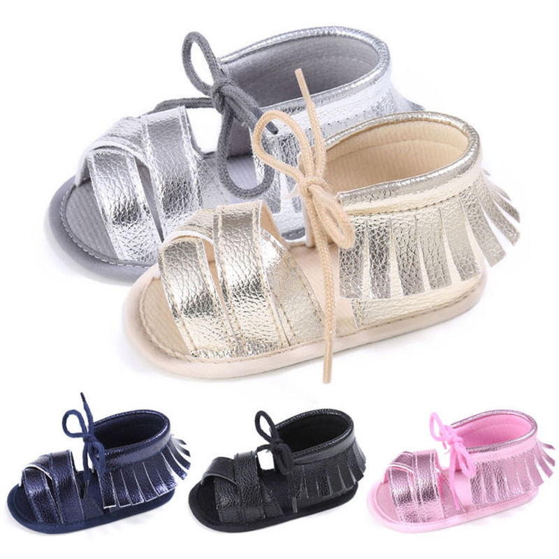 New 2019 Baby Infant Shoes Girl Sandals PU Bling Fringe Soft Anti-Slip Sole Light Weight Toddler Crib Shoes Little Girl