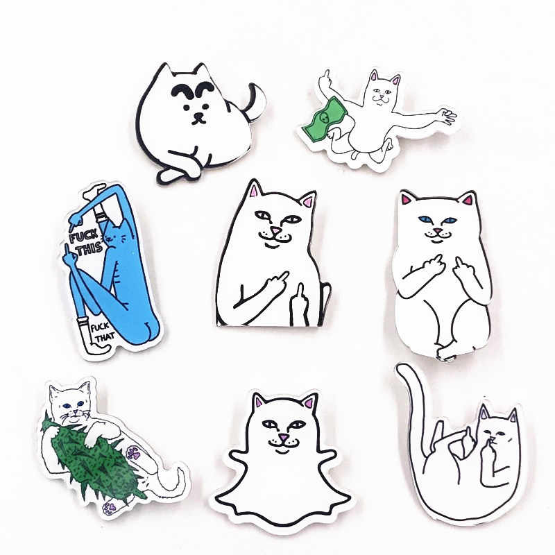 1PCS Hot Selling Cat Cartoon Badge Funny Animal Icon Acrylic Brooch Decoration On Clothes Backpack For Kids DIY Accessories