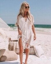 Kadınlar seksi örme püskül gevşek plaj elbise tunik Bikini Cover UP mayo Beachwear mayo Hollow plaj elbise Robe De Plage