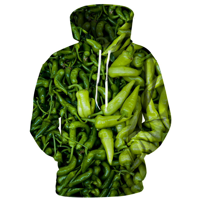 Choudstyle 2019 Green Chili Men 3d Hoodies Loose Casual Fashion Sweatshirts Harajuku Zipper Custom Clothes S-5XL