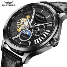 WAKNOER Fashion Automatic Mechanical Skeleton Watches Men Luxury Leather Watch Creative Moon Dial Design Watch Relogio Masculino
