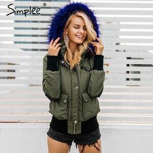 Image 1 - Simplee Hood padded parka winter jacket women coat Fur warm pocket zipper winter overcoat Snow wear thick jacket coat female