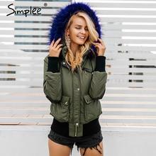 Simplee parka acolchada con capucha para mujer, chaqueta de invierno, abrigo de piel cálido con bolsillo y cremallera, abrigo grueso para nieve
