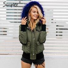 Simplee 후드 패딩 파카 겨울 자켓 여성 코트 모피 따뜻한 포켓 지퍼 겨울 오버 코트 스노우웨어 두꺼운 자켓 코트 여성