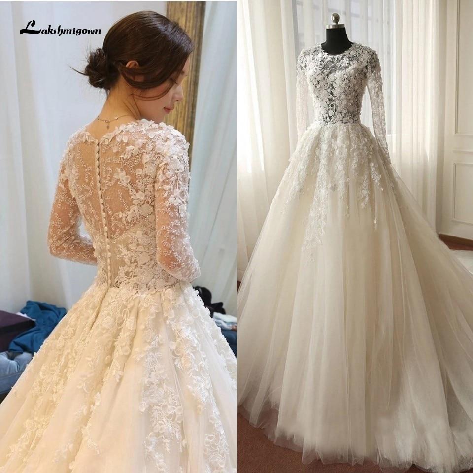 Lakshmigown Ivory Floral Wedding Dress Butterfly Princess Long Sleeves Bridal Dress Lace Wedding Gowns Long Train Vestido Novia