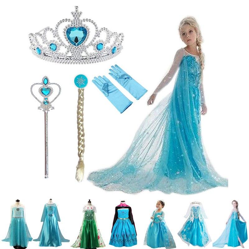 Elsa niñas vestido princesa vestidos Elza adolescentes vestidos infantiles para Niñas Ropa Anna Elsa fiesta nieve reina Cosplay