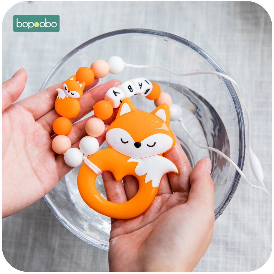 Bopoobo 1PC Baby Teethers Food Grade Silicone Animal Teething Silicone Beads Pendant Handmade Pacifier Clip Chain Set Baby Goods