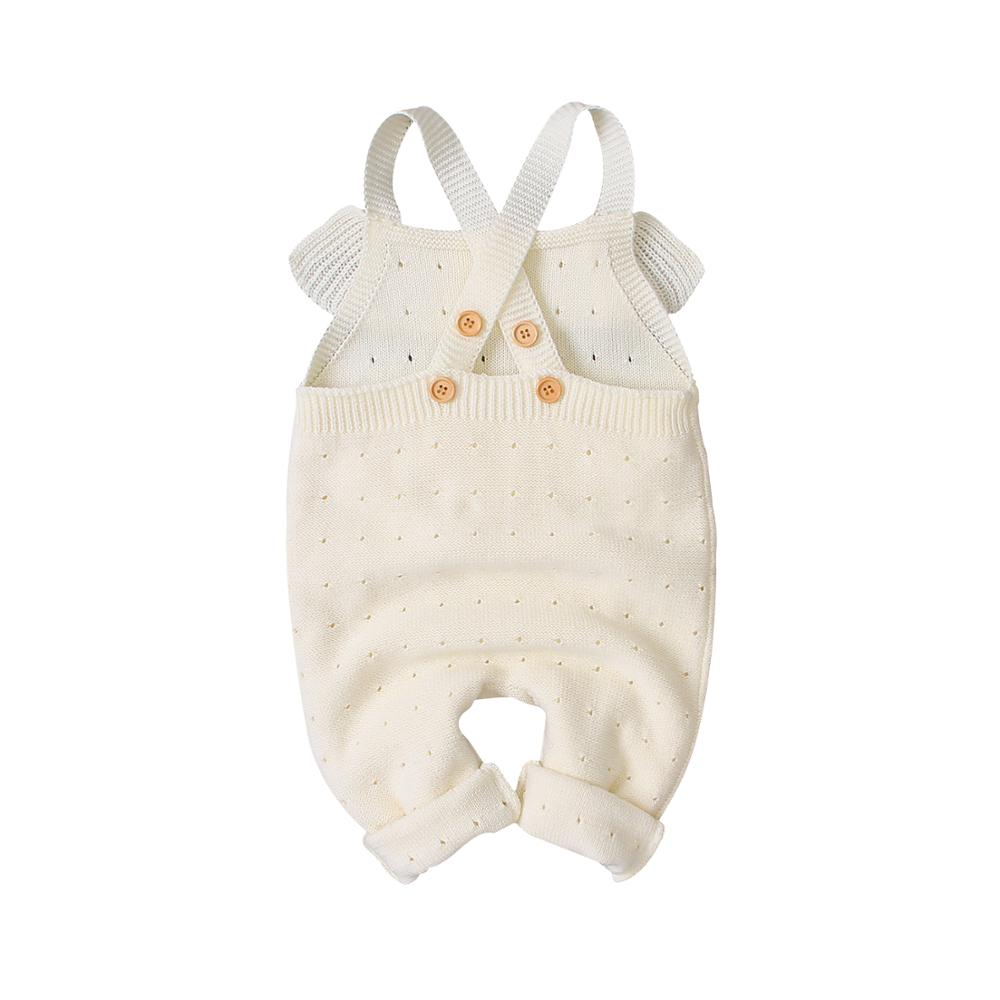 New Born Baby Strap Rompers Fashion Solid Color Infant Girl Knitted Jumpsuits Autumn Winter Toddler One Piece Overall Sleeveless in Rompers from Mother Kids