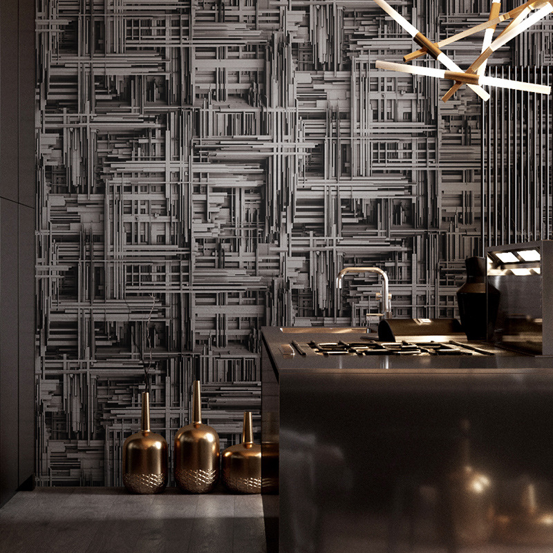Retro Nostalgic Industrial-Style Model Geometry Reinforced Wallpaper Salon Hair Salon Bar Wall Stereo Wallpaper