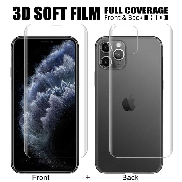 フロント + バックフルスクリーンプロテクターtpuフィルムiphone xr xs max x 8 7 6 6sプラスヒドロゲルフィルムiphone 12 11プロマックスミニフィルム