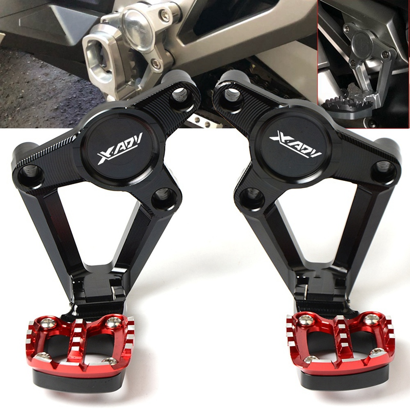 For Honda X-Adv Xadv X Adv 300 750 1000 2017-2019 Motorcycle Accessories Folding Rear Foot Pegs Footrest Passenger Red+Black