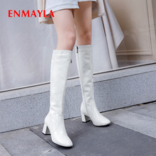 ENMAYLA High Mid-Calf PU Rainboots Square Heel Solid Microfiber Zipper Thigh Boots Off White Black Shoes Patent Leather