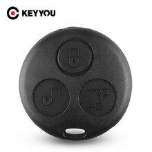 Keyyou substituição sem escudo da lâmina para mercedes benz mb smart fortwo 450 forfour roadste 3 botão chave capa fob caso