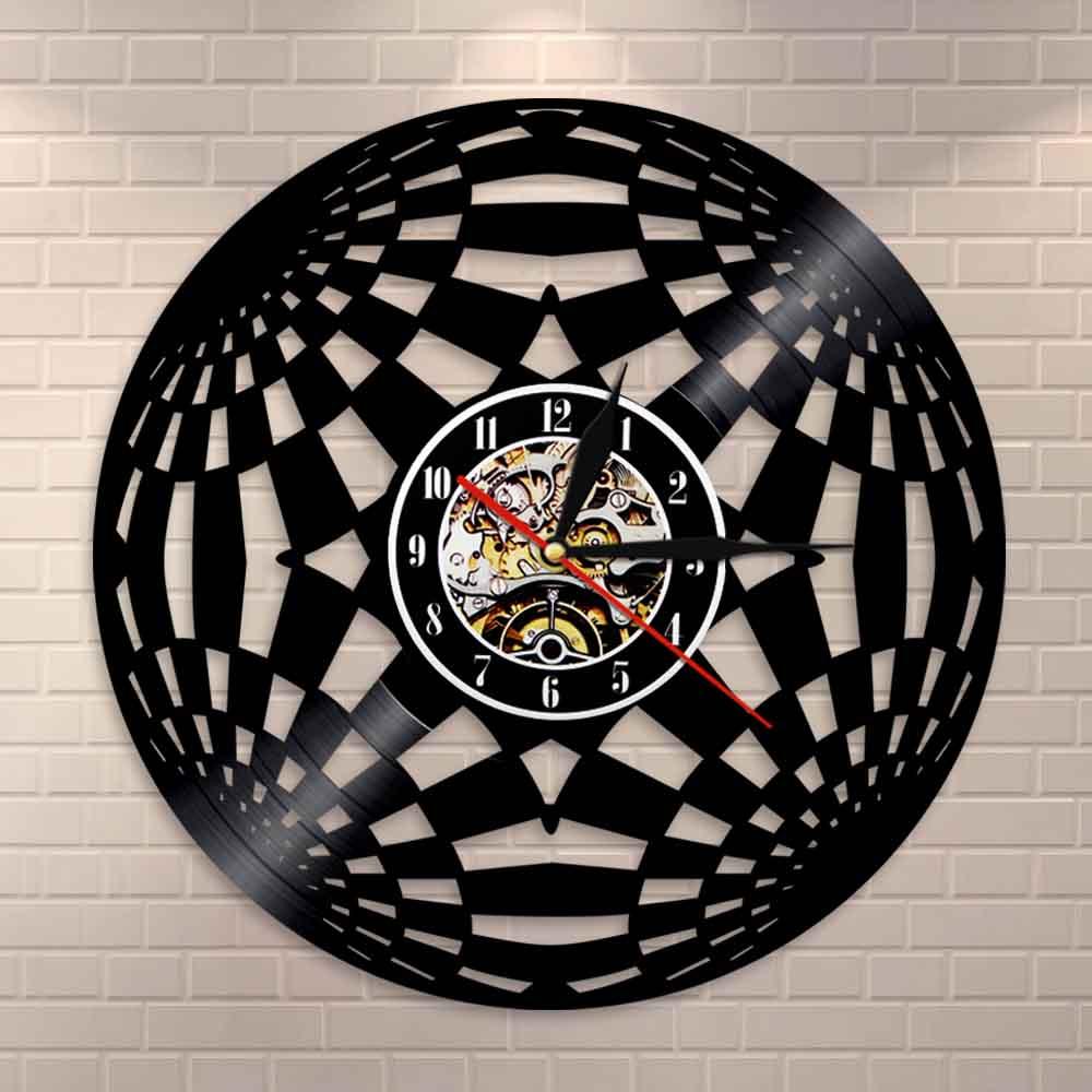 Kaleidoscope Circle Wall Clock Fractal Psychedelic Vinyl Record LP Global Wall Art Vintage Clock Living Room Wall Decor Clock