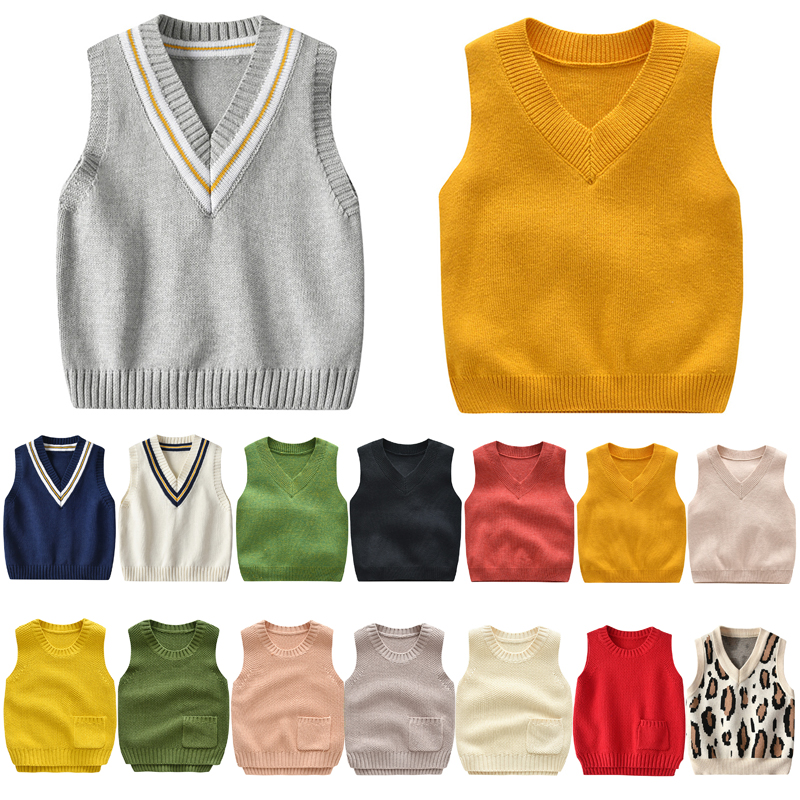 Autumn Baby Boys Girls Cute Sweater Vest Kids Leopard Pattern Printing Knitting Sleeveless Tops Toddler Casual Costume Blouse 1