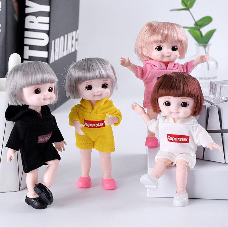 Dimple Girl BJD Doll 16cm Moveable Joint Dolls Cute Face 3D Eyes BJD Dolls Little Girl Sport Dress Make Up Toy Girls Gift  Dolls