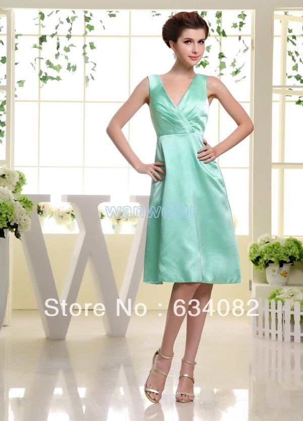 Free Shipping 2015 Vestido De Noiva Barato Aqua Satin Short Flowy Casual Dress For Women Vestidos Formales Bridesmaid Dresses