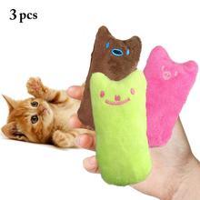 3PCS Cat Plush Toy Cartoon Expression Cat Catnip Toy Pet Gatos Kitten Chew Toy Teeth