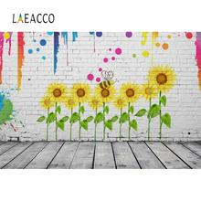 Laeacco Gray Brick Wall Sunflowers Pattern Graffiti Wooden Floor Baby Child Portrait Photo Background Photography Backdrop