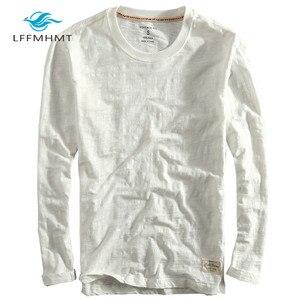 Image 5 - גברים אביב סתיו אופנה סין סגנון בציר מוצק צבע במבוק כותנה ארוך שרוול O צוואר חולצה זכר מזדמן דק טי Tshirts