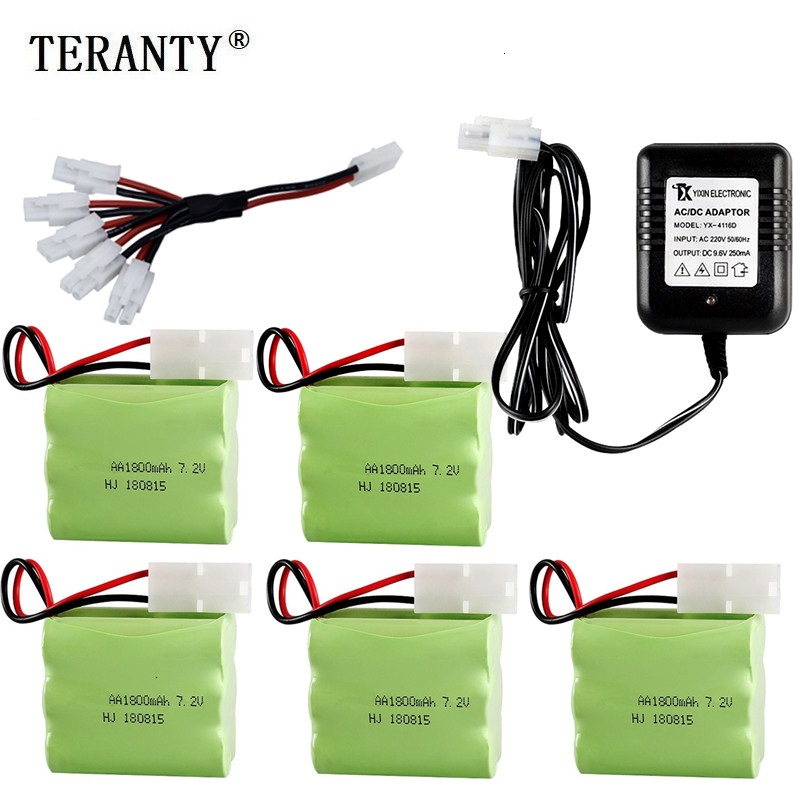 (Tamiya Plug) Ni-MH 7.2v 1800mah Battery + Charger For Rc Toys Car Tank Train Robot Boats Guns AA 7.2v Rechargeable Battery Pack