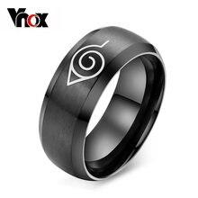 Vnox Аниме Наруто кольцо черный нержавеющей стали мужские кольца