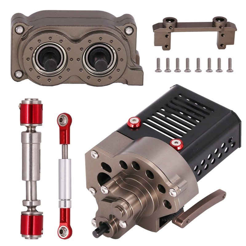 SCX10 CNC Metal Front Motor Gearbox Transmission Box Set for <font><b>1/10</b></font> RC Crawler Car Axial SCX10 DIY Assembly <font><b>Accessories</b></font> image