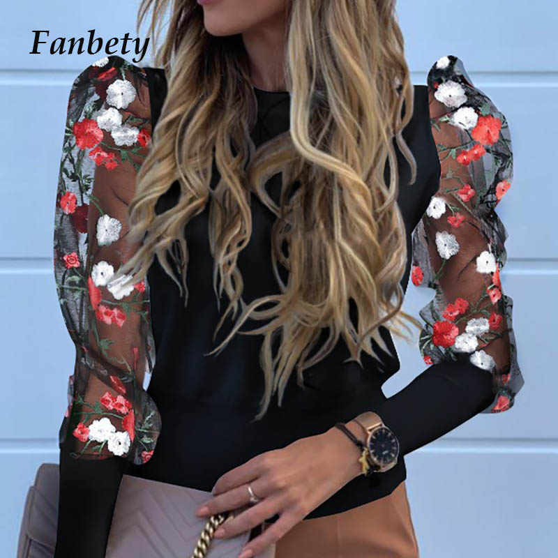 Lady Borduren Lantaarn Sheer Mesh Mouw Blouse Shirts Vrouwen Herfst Polka Dot Print Blusa Truien Elegant See Through Tops