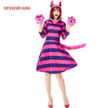VEVEFHUANG игра женщины фиолетовый чеширский костюм кошки для Хэллоуина наряд Одежда Алиса в стране чудес косплей маскарад причудливые