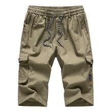 Męskie długi, Khaki szorty Cargo bryczesy trzy czwarte spodnie Capri bawełna bermudy męskie proste kieszenie 2020 Hot Men wygodne szorty