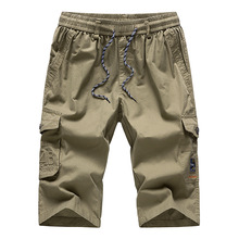 Mens Long Khaki Cargo Shorts Breeches Three Quarter Trouser Capri Cotton Bermuda Male Straight Pocket 2020 Hot Men Casual Shorts